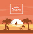 happy summer holidays poster sunset ocean ship vector image