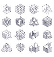 isometric abstract black and white backgrounds vector image vector image