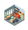 Isometric home office interior 3d workspace with
