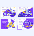 isometric set landing page for education vector image