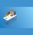 isometric workspace with big space for banner or vector image vector image