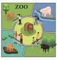 isometric zoo colorful concept vector image