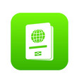 passport icon digital green vector image vector image