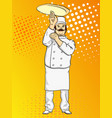 pop art man cook pizza chef tossing pizza dough vector image