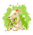pretty goat sit on grass lawn vector image vector image