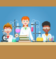 pupils in chemistry lab vector image vector image