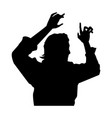 rock star male silhouette vector image