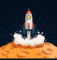 rocket takes off from surface moon vector image vector image