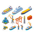 seaport isometric icon set vector image