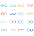 set of color glasses and sunglasses icons vector image vector image