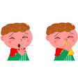 Sick boy with cough and cold vector image