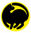 silhouette a black cat inscribed in a circle vector image vector image
