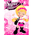 Super star girl on pink star background