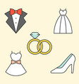 wedding clothe filled outline icon vector image vector image