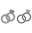 wedding rings line and glyph icon jewelry and vector image