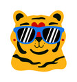 with cute tiger in blue sunglasses vector image
