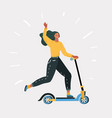 woman riding fast modern electric kick scooter vector image