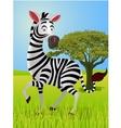 zebra cartoon in the jungle vector image