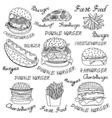 sketchy fast food vector image