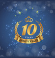 10 years anniversary gold ribbon crown star blue b vector image