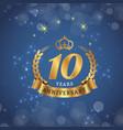 10 years anniversary gold ribbon crown star blue b vector image