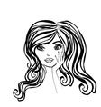 Abstract Beautiful Woman doodle Portrait vector image vector image