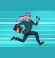 arab businessman runs forward phone and briefcase vector image vector image