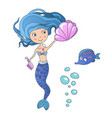 beautiful cute little siren mermaid vector image vector image