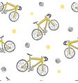 bicycle seamless doodle pattern hand drawn vector image