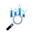business magnifying glass chart statistic diagram vector image vector image