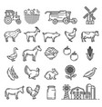 cattle farm animals and agriculture farmer items vector image vector image