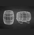 chalk sketch of barrels vector image