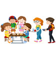 children having lunch on table vector image