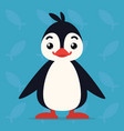 cute penguin standing and smiling vector image vector image