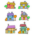 doodle of house colorful cartoon vector image vector image