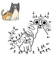 dot to puzzle for kids with cute cats - mother vector image