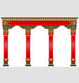 eastern chinese arch carved red gold columns vector image vector image