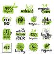 eco organic bio logos or signs vegan vector image vector image