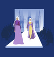 fashion show muslim women models vogue industry vector image vector image