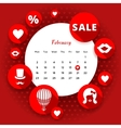 Flat icons Valentines and calendar vector image vector image