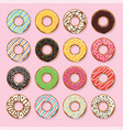 flat style icons glazed colorful donuts vector image