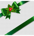 green bow with holly berry transparent background vector image vector image