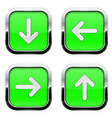 green buttons with arrows square 3d icons with vector image vector image