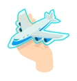 Hand holding the plane icon isometric 3d style vector image