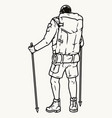 hiker with trekking poles and backpack vector image vector image