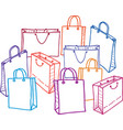 image of a set of shopping bags all objects vector image