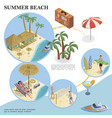 isometric summer vacation template vector image vector image