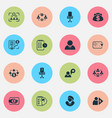 job icons set with businesswoman businessman vector image vector image