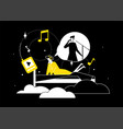 listening to music - flat design style vector image vector image