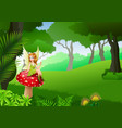 little fairy sitting on mushroom with tropical for vector image